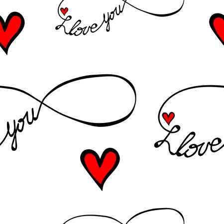 Seamless pattern with I love you text in infinity form isolated on the white background. Love symbol for greeting card.