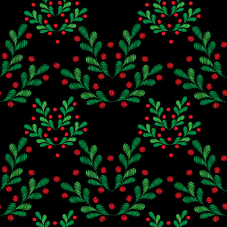 Seamless pattern with little spruce branches and red berries embroidery stitches imitation on the black background. Fashion holiday embroidery. Illustration