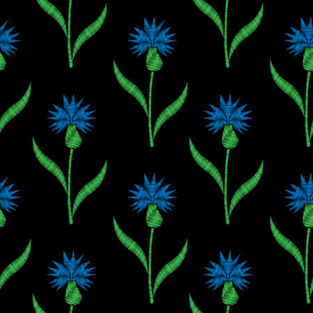 Seamless pattern with little corn flower embroidery stitches imitation on the black background. Embroidery corn flower. Illustration