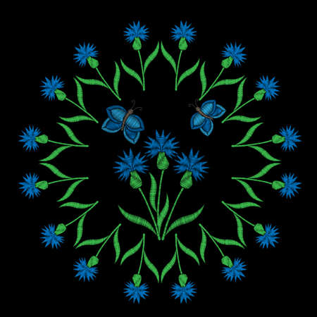 Blue flower with butterfly embroidery stitches imitation on the black background. Embroidery blue flower. Illustration