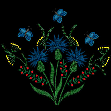 Bouquet with different flower and butterfly embroidery stitches imitation on the black background. Embroidery corn flower. Illustration