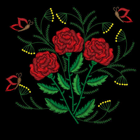 Embroidery stitches imitation red roses with butterfly. Fashion embroidery rose flower on black background. Embroidery big roses vector. 矢量图像