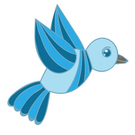 Blue bird isolated on the white background. Vector blue bird. Illustration