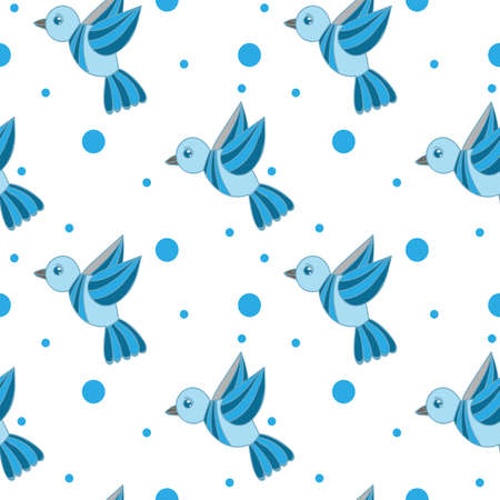 Seamless pattern with little blue bird isolated on the white background. Vector seamless pattern with bird.