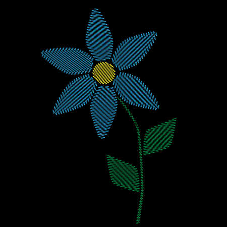 Embroidery stitches imitation simple blue flower. Fashion embroidery little flower on black background. Embroidery one flower vector.