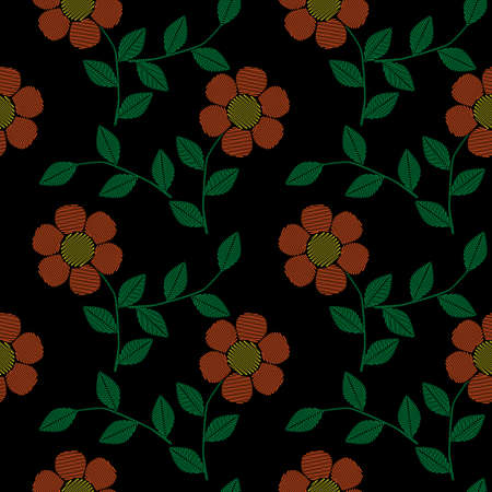 A Seamless pattern with embroidery stitches imitation simple little orange flower. Fashion embroidery background.