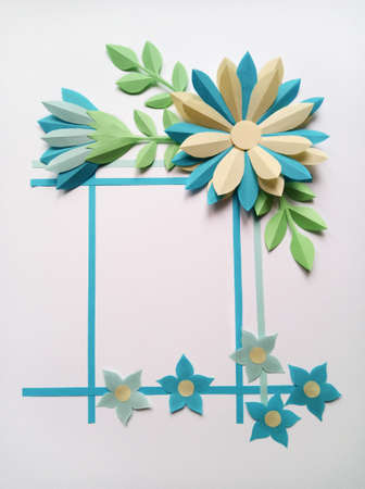 Square Frame With Blue Color Big And Little Paper Flowers. Nature ...