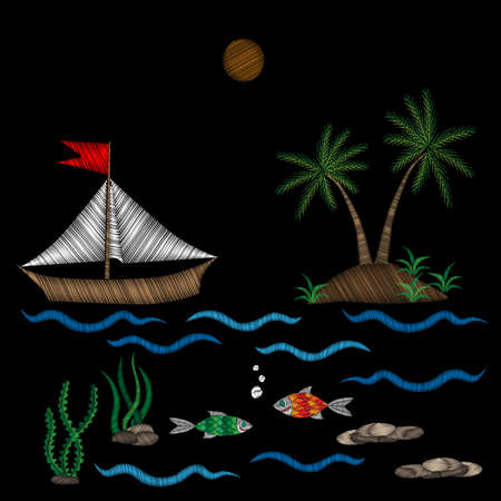 Embroidery palm tree and boat on wave with fish stitches imitation isolated on the black background. Embroidery for logo, label, emblem, sign, poster, t-shirt print. Vector embroidery illustration. Stock Illustratie
