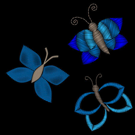 Embroidery stitches imitation butterfly patches on the black background. Stickers embroidery for textile design. Illustration