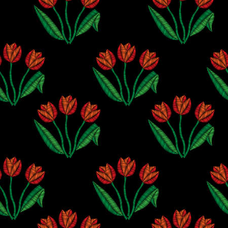 Flower pattern with Tulip embroidery stitches imitation.