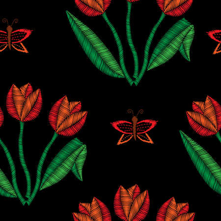 Flowers Embroidery on black backdrop floral pattern.