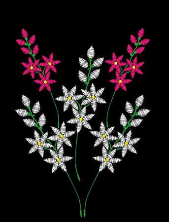 Embroidery stitches imitation fashion pattern with folk flower. Illustration