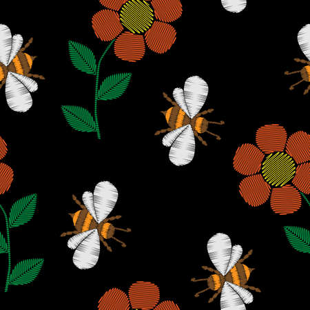 Seamless pattern with bee and flowers embroidery stitches imitation.