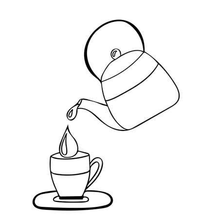 Black line of teapot and cup. Vector illustration.  イラスト・ベクター素材