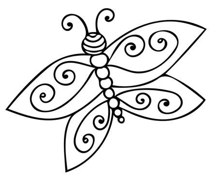 Vector illustration black line butterfly for coloring book. Black and white hand drawn butterfly.  Stock Illustratie