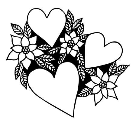 Love sign with heart and flower black line style. Vector illustration love symbol for greeting card.