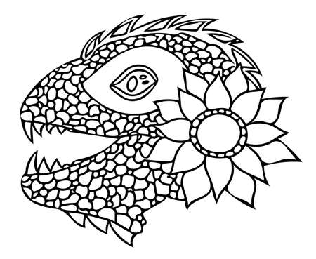 Vector illustration of reptile and flower in graphic style. Animal tattoo vector Ilustrace