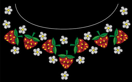 Embroidery frame with strawberry and flower with green leaf. Vector embroidery pattern on the black background for printing on fabric, napkin and other decoration.