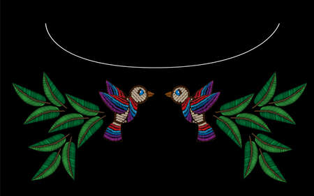 Embroidery style bird with leaf stitches imitation. Vector embroidery fashion leaf and bird on black background. Embroidery flower.