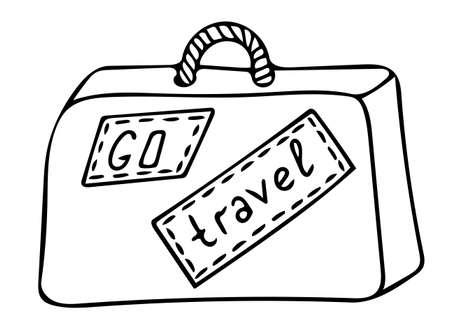 Black line icon suitcase, isolated on white background. For coloring book and other design. 일러스트
