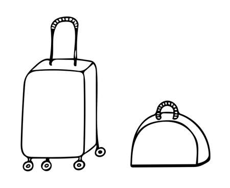 Black line icon suitcase, isolated on white background. For coloring book and other design. Illustration