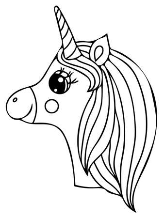 Unicorn black line isolated. Magical cute animal. Vector artwork. Coloring book pages for adults and kids. For wedding invitation card, ticket, branding, boutique icon, label. Illustration