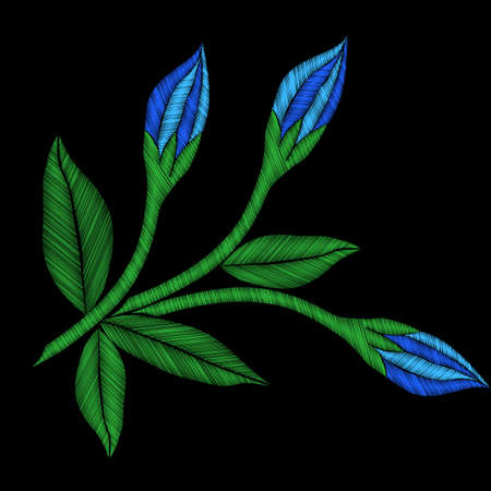 Embroidery colorful trend floral pattern with flower and leaf. Vector traditional folk flowers bouquet on black background for clothing design Illustration