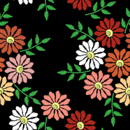 Embroidery stitches imitation seamless pattern with flower. Fashion embroidery flower on black background. Vector seamless floral print.