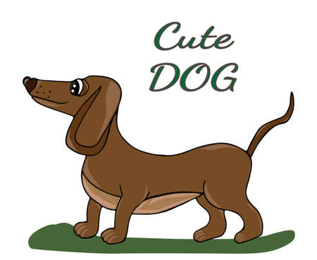 Cute dog isolated on the white background. For coloring book and other child design.