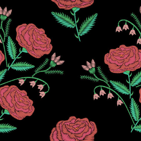 Embroidery seamless pattern bouquet with pink rose embroidery stitches imitation. Satin stitch imitation, vector illustration. Illustration