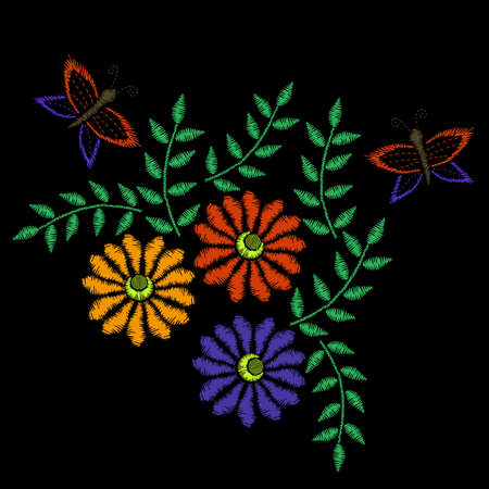 Colorful embroidery stitches imitation folk flower with butterfly and green leaf. Floral embroidery pattern on the black background. Vector embroidery template for printing on fabric, napkin and other decoration. Illustration