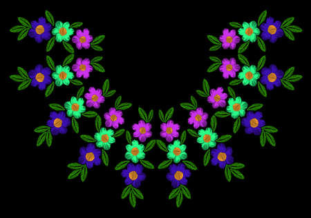 Colorful flower with leaf frame embroidery stitches imitation. Floral wreath for neck line on black background. Embroidery vector. Illustration