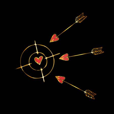 Propósito de oro con un corazón y flechas voladoras. Ilustración de vector para el día de San Valentín, bodas u otras vacaciones románticas.
