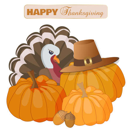Happy Thanksgiving Day greeting card with traditional turkey and pumpkins in pilgrim hats. Thanksgiving card with pumpkins for discounts and sales stickers.