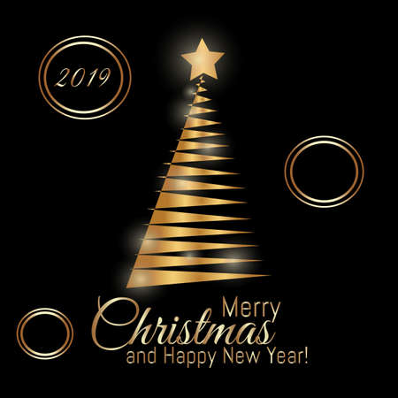 Gold Merry Christmas card with New Year tree and with 2019 number on black background. Beautiful Xmas tree for Merry Christmas celebration.