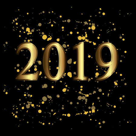 Golden 2019 numbers on the glittering confetti and dots on black. Vector festive illustration. Holiday decoration with golden dots. Happy New Year