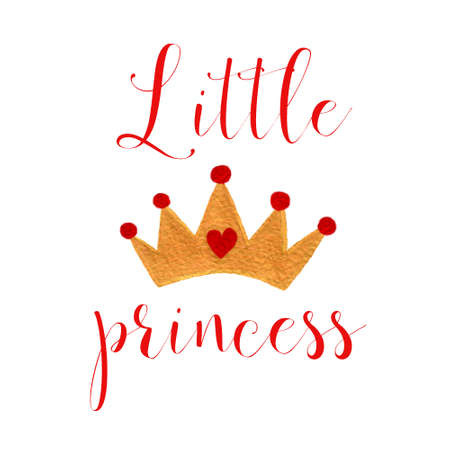 Nursery baby print little princess with watercolor crone graphic for typography poster, card, label, brochure, flyer.