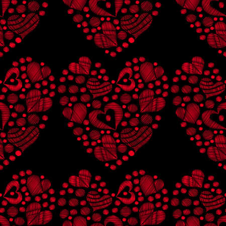 Seamless pattern with red heart embroidery stitches imitation on the black background. Vector embroidery seamless with love symbol for card, invitation, posters, texture backgrounds, placards, banners.