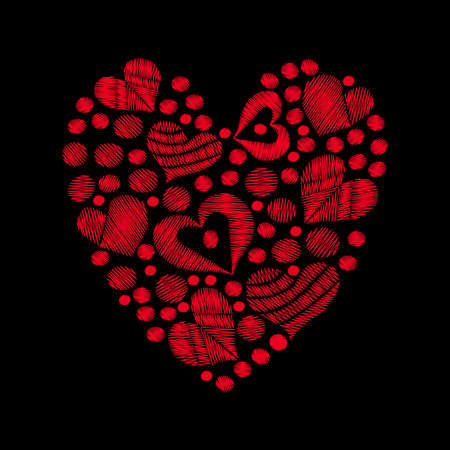 Set red heart embroidery stitches imitation in the heart form on the black background. Vector embroidery love symbol for card, invitation, posters, texture backgrounds, placards, banners.
