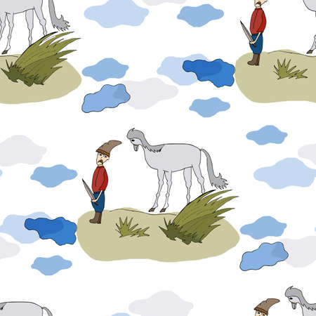 Seamless pattern Cossack with horse silhouettes. Seamless design, child magazine, banner, template. Vettoriali
