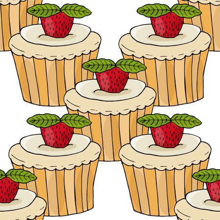 Seamless pattern with cake with strawberry and mint leaf isolated on the white. Sweet cupcake with cream and berries. Ilustração
