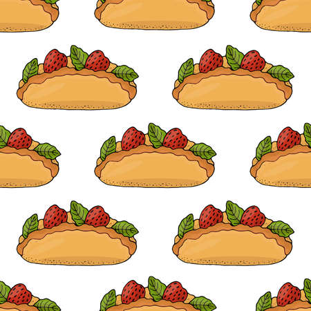 Seamless pattern with cake with strawberry and mint leaf isolated on the white. Sweet cupcake with cream and berries. Stock Illustratie