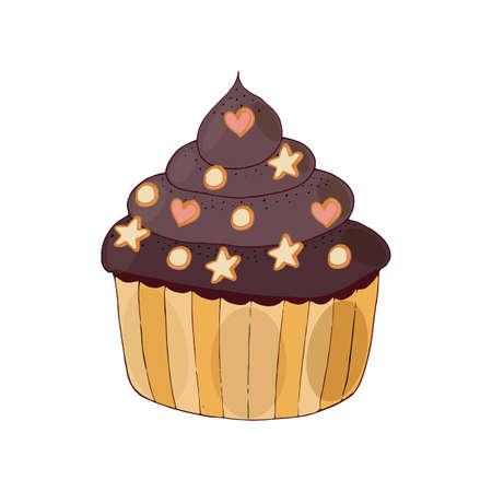 Vector cake with little biscuit isolated on the white. Sweet cupcake with cream and biscuit.