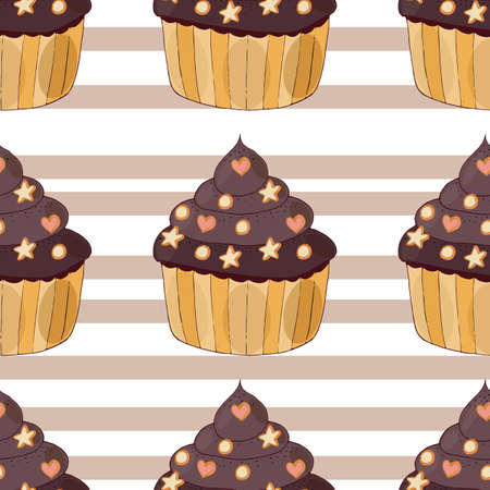 Seamless pattern with cake with little biscuit isolated. Sweet cupcake with cream and biscuit.