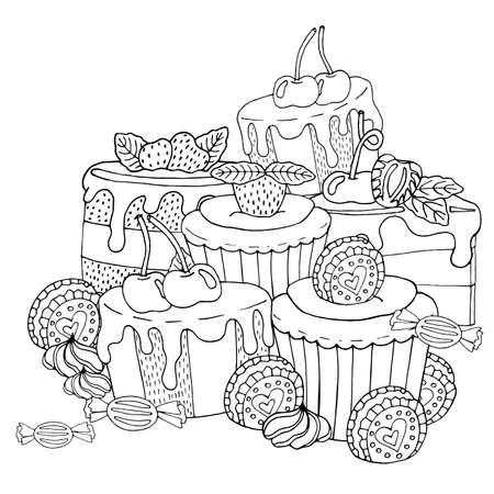 Pagina da colorare con torta, cupcake, caramelle e altri dolci con frutti di bosco. Libro da colorare di dolci da dessert. Dessert isolato di vettore.