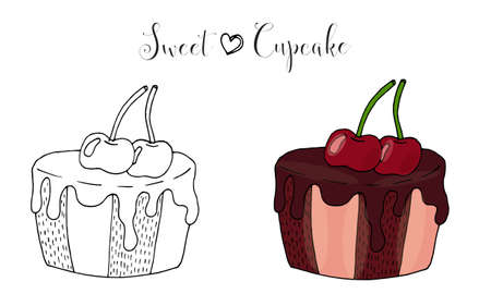 Vector isolated cake or cupcake, dessert with berry. Sweet dessert coloring book. Vector isolated dessert.