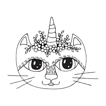 Cartoon cat with flower on the head for coloring book or pages. Sweet cat with flower.