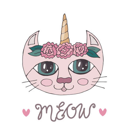 Cartoon colorful cat with flower on the head for coloring book or pages. Sweet cat. Floral cat.