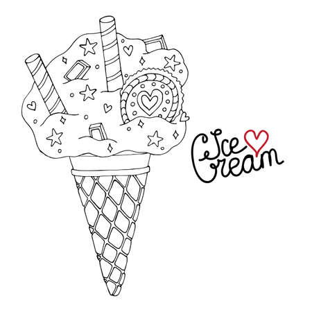 Vector Ice cream for coloring book for adult and kids. Black line Ice cream coloring page.