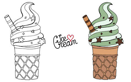 Vector Ice cream for coloring book for adult and kids. Black line Ice cream coloring page. Иллюстрация
